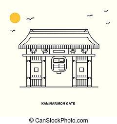 estilo, kaminarimon, natural, viaje, ilustración, plano de...