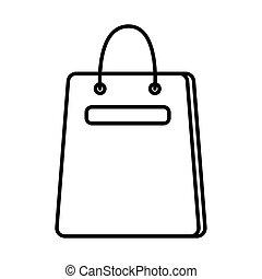 estilo, línea, bolsa, compras, icono