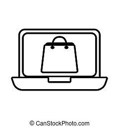 estilo, línea, bolsa, computador portatil, compras, icono