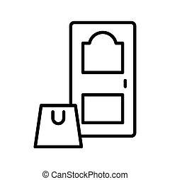 estilo, línea, puerta, icono de la casa, bolsa, compras