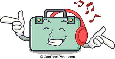 estilo, la música escuchar, maleta, caricatura, mascota