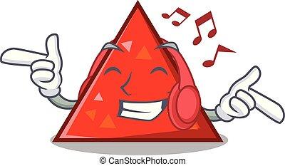 estilo, la música escuchar, triangel, caricatura, mascota