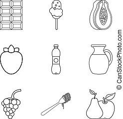 estilo, lanche, esboço, ícones, jogo, doce