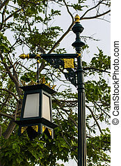 estilo, lanna, lámpara, tradicional, poste, calle