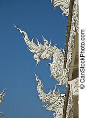 estilo, lanna, norteño, naga, tailandia, blanco, templo, sculture