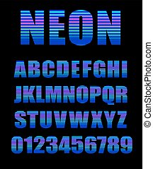 estilo, latín, cartas, alfabeto, tubo, neón, ilustración, números, vector, typeface., brillo, retro