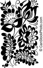estilo, leaves., elemento, pretas, retro, projeto floral, flores brancas