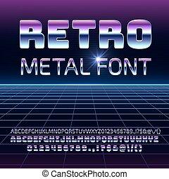 estilo, letras, espaço, cromo, vindima, metal, vetorial, retro, font., 80s, metallica, futurista, números