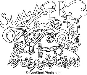 estilo, lettering, verão, elements., doodles, mão