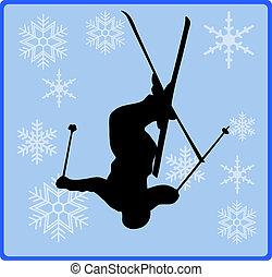 estilo libre, botón, esquí, juego, invierno