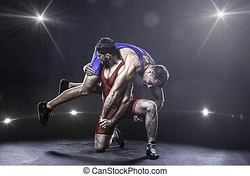estilo libre, lanzamiento, luchador