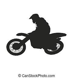 estilo libre, motocross., silueta, vector