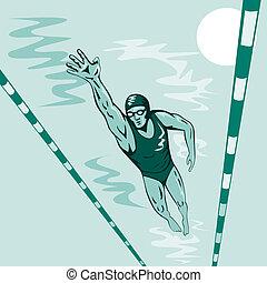 estilo, libre, nadador