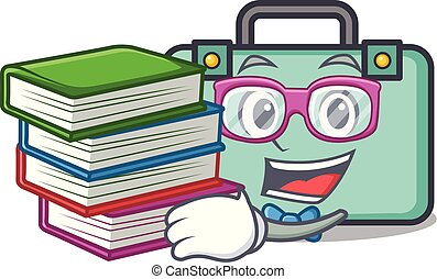 estilo, libro, estudiante, maleta, caricatura, mascota