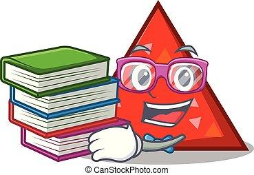 estilo, libro, estudiante, triangel, caricatura, mascota