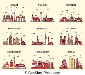 estilo, lineal, alemán, ilustración, vector, ciudades