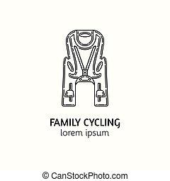estilo, lineal, moderno, logotype, asiento, bicicleta, niño...