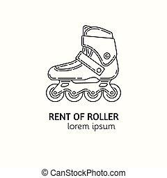 estilo, lineal, moderno, logotype, patines, alquiler, ...