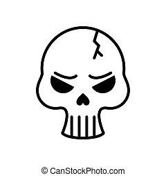 estilo, linha, cabeça, quebrada, cranio, mortos, ícone