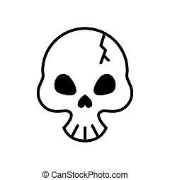 estilo, linha, cabeça, quebrada, cranio, mortos