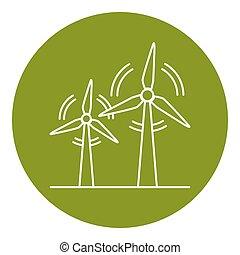 estilo, linha magra, turbina, vento, ícone