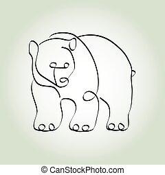 estilo, linha, urso pardo, mínimo