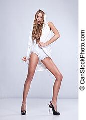 estilo loiro, mulher, bonito, moda, foto