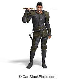 estilo, lutador, fantasia, cortando, sword., caminho