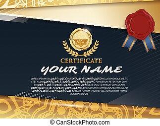 estilo, luxo, modelo, certificado, diploma, ilustração, tailandês, vetorial, padrão