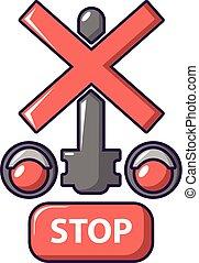 estilo, luz, parada, tráfego, ícone, estrada ferro, caricatura