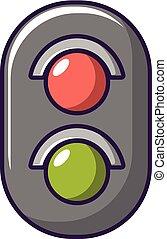 estilo, luz, tráfego, ícone, estrada ferro, caricatura