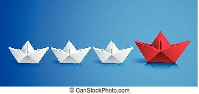 estilo, más pequeño, grupo, illustration., empresa / negocio, barcos, concepto, primero, moderno, realista, vector, liderazgo, equipo, origami, barco, natación, 3d