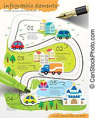 estilo, mão, colagem, caneta, infographic, chafariz, desenhado