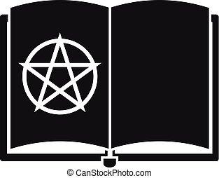 estilo, magia, simples, livro, ícone, abertos