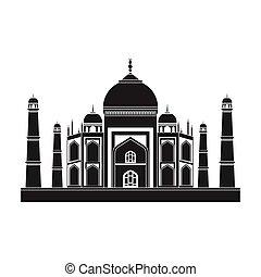 estilo, mahal, illustration., símbolo, india, aislado,...