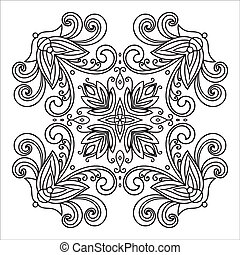 estilo, majolica, mano, zentangle, mandala, dibujo, element...