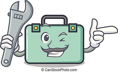 estilo, maleta, caricatura, mecánico, mascota