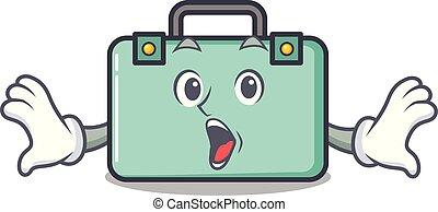 estilo, maleta, caricatura, sorprendido, mascota