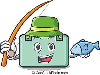 estilo, maleta, pesca, caricatura, mascota