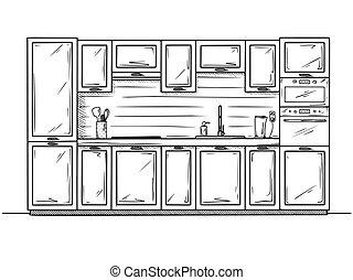 estilo, mano, cocina, bosquejo, furniture., vector, ilustración, dibujado