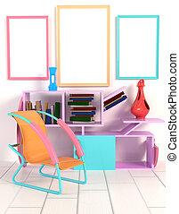 estilo, marco, libros, estante, ilustración, florero, lámpara, contra, memphis., interior, tabla, blanco, 3d