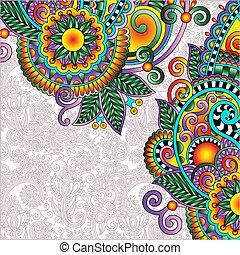 estilo, marco, vendimia, ucranio, étnico, floral