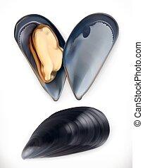 estilo, mariscos, mussels., vector, icon., realismo, 3d