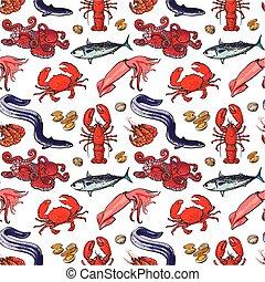 estilo, mariscos, seamless, patrón, vector, ilustración, ...