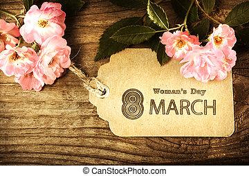 estilo, marzo, womans, vendimia, etiqueta, mensaje, flores, día, 8