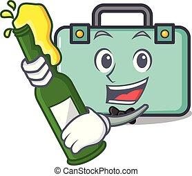 estilo, mascota, cerveza, caricatura, maleta