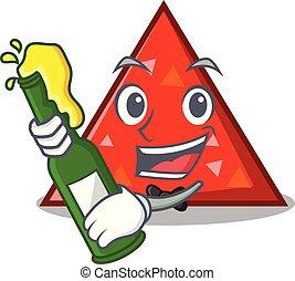estilo, mascota, cerveza, triangel, caricatura