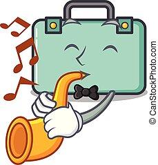 estilo, mascota, trompeta, caricatura, maleta