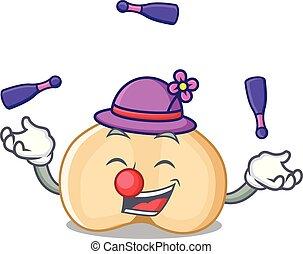 estilo, mascote, chickpeas, caricatura, juggling