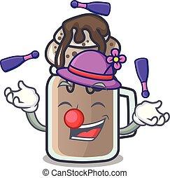 estilo, mascote, milkshake, caricatura, juggling